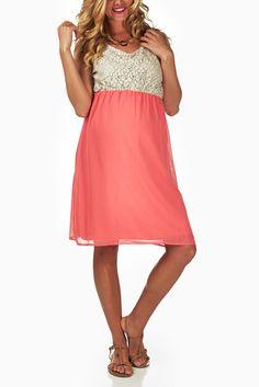 Coral-Crochet-Top-Maternity-Dress #maternity #fashion