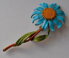 Blue Enamel Flower Brooch Vintage