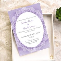 Affordable Lace Printed Lavender Watercolor Wedding Invitations
