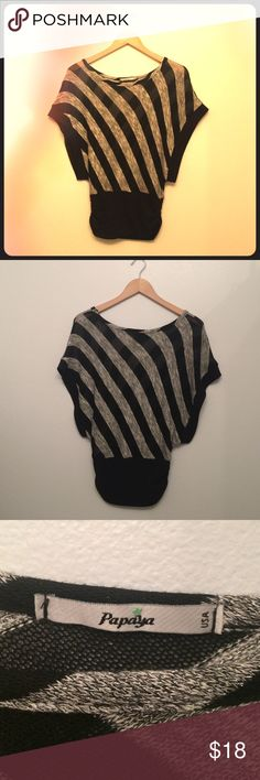 80s style Night on the Town sparkle sweater Small 80s style Night on the Town sparkle sweater black and silver diagonal stripes.  Great with black mini or black pants.  Size: Small.  designer: Papaya made in USA Papaya Sweaters