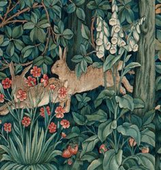 Morris's Forest Rabbits Orenco Originals Counted Cross Stitch Chart - William Morris design in the Arts and Crafts Style William Morris Patterns, William Morris Art, Scarlet, Hare Pictures, Art Nouveau Pattern, Bunny Art, Arts And Crafts Movement, Museum Of Fine Arts, Cross Stitch Patterns