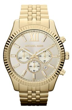 One of my favorite watch! You can dress it up or down! it the Michael Kors 'Large Lexington' Chronograph Bracelet Watch..