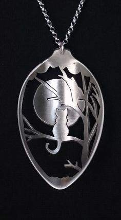 Cat Necklace, Cat Lover Gift Cat Necklace,Cat Full Moon Necklace in Silver Plated Tea Spoon, Handcrafted Cat Silver Jewelry in Spoon Necklace by SpoonTales on Etsy Fork Jewelry, Silverware Jewelry, Cat Jewelry, Metal Jewelry, Bullet Jewelry, Jewellery Box, Glass Jewelry, Cutlery, Spoon Necklace