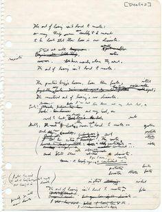 "Elizabeth Bishop's second draft of ""One Art"""