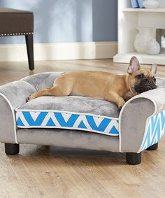 SPOILED hahaha, adorable bed. Look what I found on #zulily! Blue & Gray Sofa Pet Bed by Enchanted Home Pet #zulilyfinds