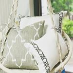 Swing into the weekend w our Oyster Linen w Gunmetal on White Camden Tape  Monaco Linen w White Eyelash Trim pillows lacefielddesigns