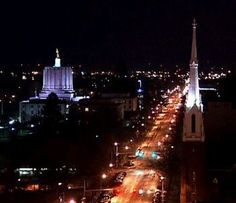 Salem, Oregon - Downtown at Night. I love visiting Salem. That's where my boy and his beautiful wife live.