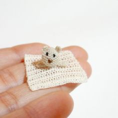 Miniature crochet safety blanket with little bear for dollhouse in scale 1:12 by MiniGio
