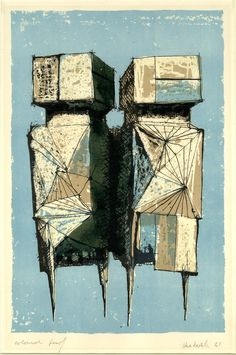 Lynn Chadwick -The watchers Abstract composition with two figures standing together. 1961 Colour lithograph in pale blue, brown and black