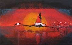 "Saatchi Art Artist Florin Coman; Painting, ""Red Flamingo"" #art"