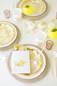 The table details from a Main Squeeze Summer Themed Bridal shower! Get more Bridal Shower inspo by following KinsieMichelle. #bridalshower #summerbridalshower #mainsqueezebridalshower