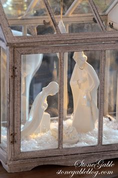 Love this Nativity displayed in a little cabinet....protecting it from little hands. HOME FOR THE HOLIDAYS CHRISTMAS HOUSE TOUR