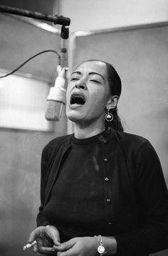 Billie Holiday in the Columbia recording studio in 1957.