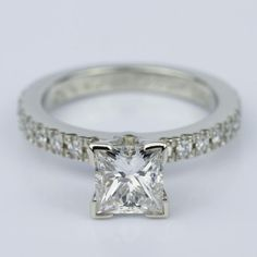A beautiful recently purchased Petite Pave Princess Cut Diamond Engagement Ring in White Gold.