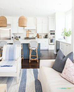 Home Decoration Design Our blue and white themed spring living area with greener… Farm House Living Room, Apartment Living Room Design, Living Room Decor Apartment, Living Room Dyi, Apartment Living Room, House Rooms, Apartment Decor, Rustic Living Room, Country Living Room