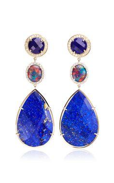 18K Gold Australian Opal and Diamond Earrings by Andrea Fohrman Now Available on Moda Operandi