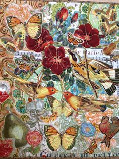 In the Garden, art quilt, raw edge appliqué, machine quilted, embellished with beads and antique buttons.,