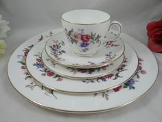 "Wedgwood English Bone China 5 piece Place Setting ""Devon Sprays"" Pattern – 9 available – Wedding Bridal"