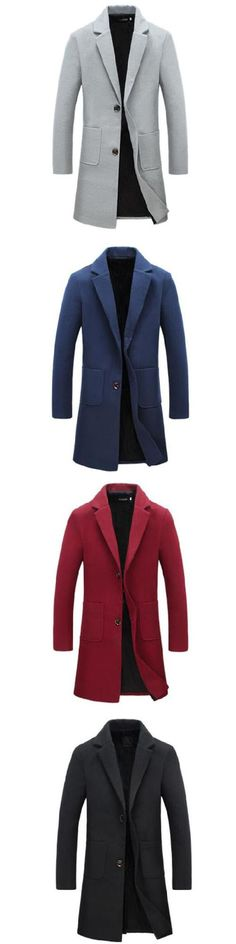 Men's Casual/Daily Simple Winter Trench Coat,Solid Shirt Collar Long Sleeve Long Cotton Coat