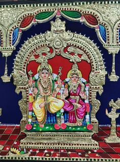 Mysore Painting, Tanjore Painting, Vivid Colors, Colours, Wonder Art, God Pictures, Indian Paintings, Lord Shiva, Architectural Elements