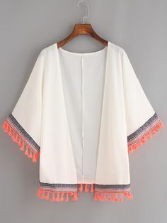 Shop White Woven Tape and Tassel Trimmed Chiffon Kimono online. SheIn offers White Woven Tape and Tassel Trimmed Chiffon Kimono & more to fit your fashionable needs. Look Fashion, Hijab Fashion, Diy Fashion, Teen Fashion, Fashion Dresses, Womens Fashion, Muslim Fashion, Trendy Dresses, Winter Fashion