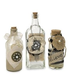 Love this Iva Vintage Bottle Set on #zulily! Would be fun to make with vintage finds, special remembrances.