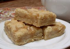 Salted Caramel Bars: A super buttery shortbread crust, our made-from-scratch creamy caramel, coarse salt, and more buttery shortbread on top – so delicious! rareopportunityfarm.com
