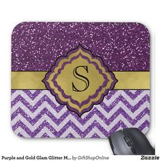 Purple and Gold Faux Glitter Monogrammed Glamour Mousepad.  Super Easy To Change The Monogram To Your Own.