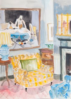 Lottie Cole Interior with Keith Vaughan and Yellow Chair Signed Watercolour on paper 14 1/8 x 10 1/4 in 36 x 26 cms (LC072)