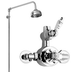 Ultra Traditional Twin Exposed Thermostatic Shower Valve with Rigid Riser Kit at Victorian Plumbing UK Types Of Plumbing, Plumbing Installation, Shower Rose, Thread Supply, 5 Bar, Shower Kits, Shower Accessories, Shower Valve, Bathroom Styling