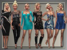 Holiday Party Dresses by Judie at All About Style via Sims 4 Updates