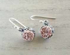 Druzy Rose Gold Earrings on Sterling Silver by happylittlegems, $90.00 #beautifulearrings #etsyhandmade