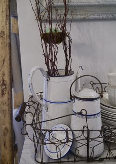 Chateau Chic: Blue striped enamelware