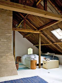 Incomparable Attic renovation with dormer,Upstairs attic bedroom and Attic storage riverside. Attic Bedroom Designs, Attic Bedrooms, Attic Design, Design Bedroom, Attic Renovation, Attic Remodel, Small Attics, Red Cottage, Swedish Cottage