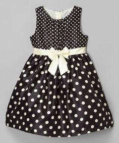 $9.99! Love this Black Polka Dot Shantung Dress - Toddler on #zulily! #zulilyfinds