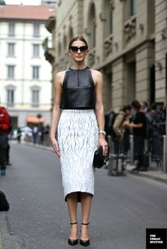 #KateWaterhouse & her Balenciaga cracked leather skirt in Milan.