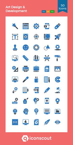 Art Design & Development  Icon Pack - 50 Flat Icons Mobile Icon, Mobile App, Png Icons, Vector Icons, Art Design, Icon Design, Download Art, Flat Icons, Custom Icons