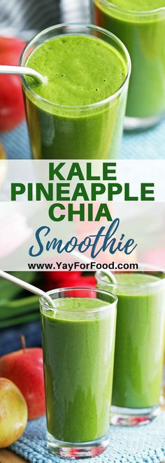 Kale Pineapple Chia Smoothie A refreshing smoothie featuring healthy green kale and chia seeds. Sweet pineapple and coconut milk adds a tropical twist to this delicious drink. It's vegan and gluten-free too. Smoothies For Kids, Healthy Green Smoothies, Green Smoothie Recipes, Strawberry Smoothie, Fruit Smoothies, Kale Apple Smoothie, Pineapple Kale Smoothie, Green Smoothie Kale, Morning Smoothies