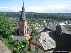The beautiful, leaning spire of the Lutheran church in #Marburg, #Germany