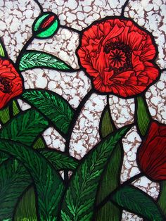 hand painted kiln fired stained glass red poppy panel