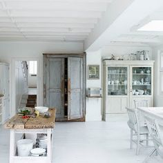 White modern kitchen-diner Photograph by Paul Massey Rustic Room, White Wooden Floor, Home, Rustic Kitchen, White Modern Kitchen, House Design, Sweet Home, House Interior, Modern Kitchen Diner