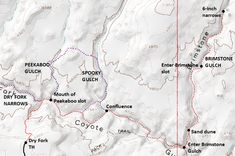 Map of hike to slot canyon in Brimstone Gulch, including Peekaboo, Spooky, and Dry Fork Narrows, Grand Staircase-Escalante National Monument; adapted from: ...