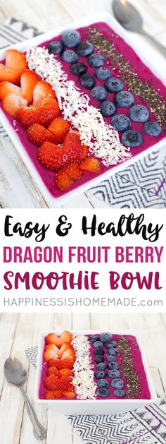 This delicious and vibrantly colored Dragon Fruit (pitaya) Berry Smoothie Bowl is a quick and easy healthy breakfast idea that's sure to be a huge hit with your entire family!