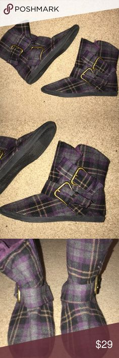 Purple plaid flat booties Purple plaid booties with 2 buckles on side Slightly worn Great condition! Shoes Ankle Boots & Booties