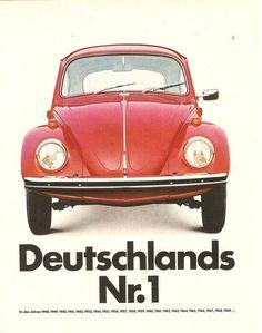 Er läuft und läuft und läuft ... Laut dieser Werbung von 1969 war der VW Käfer von Volkswagen Deutschlands beliebtestes Auto seit 1949.  #VW #Käfer #Volkswagen