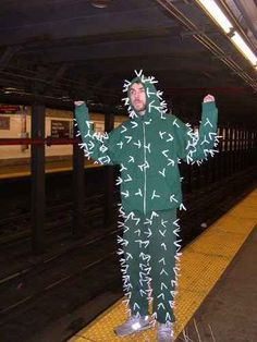Poke white pipe cleaners into green sweats to make a super cozy cactus costume.