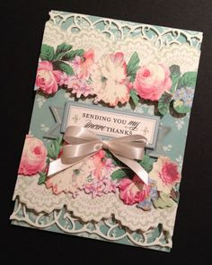 Shabby-Sweet and Elegant Aqua Thank You Card with Floral Anna Griffin Papers