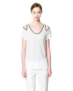 Image 2 of T-SHIRT WITH CUT-OUTS ON SHOULDERS from Zara