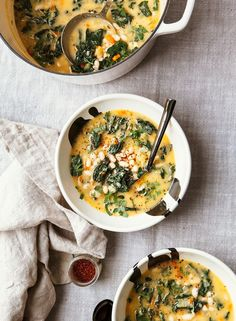 Creamy White Bean Soup with Kale, Rosemary & Lemon - The First Mess