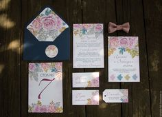 """Купить Приглашение на свадьбу """"Романтика"""" - бледно-розовый, приглашение, синий…"""